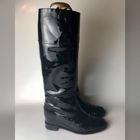 8c908f14fb3 Christian Louboutin Black Patent Platform Boots 38
